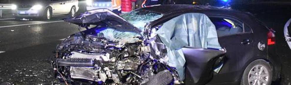 Auto incidentata sulla tangenziale est